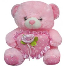 Bear with Rose on a Heart Pillow